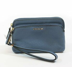 Coach Madison Double Zip Wristlet In Leather