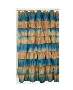Blue Ruffle Shower Curtain