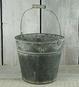 Large Vintage Embossed Zinc Bucket with Wooden Handle