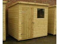 Nearly New 8 x 6 Wooden Pent Shed For Sale