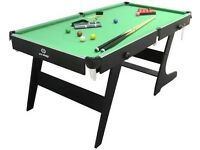 fold up 6ft by 3ft pool/snooker table with 2 cues £75