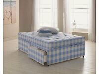 BRAND NEW DOUBLE LIGHT QUILT DIVAN BED AND MATTRESS - SINGLE/KINGSIZE ALSO, EXPRESS DELIVERY
