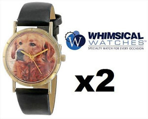 2 WHIMSICAL Kid's Black Leather Watches - (GOLDTONE)