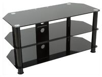 Excellent condition black glass TV stand with shelves