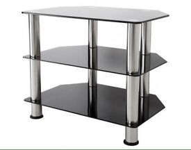 Black glass and chrome tv television stand
