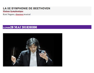 Montreal Symphony Orchestra plays Beethoven's Fifth, May 28, 8pm