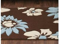 XL Brown, Beige and Duck egg blue rug.