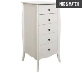 Baroque 5 Drawer Narrow Chest of Drawers - White
