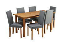 already built up Ashdon Solid Wood Table & 6 Mid Back Chairs - Grey