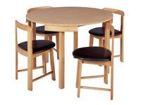 Hygena Alena Circular Solid Wood Table & 4 Chairs - Oak
