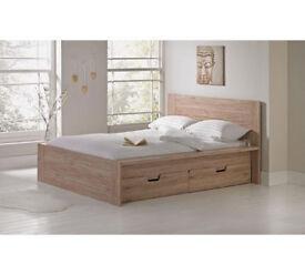 Seattle Kingsize 2 Drawer Bed Frame - Warm Oak
