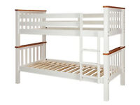 Collection Heavy Duty Bunk Bed Frame - White and Pine
