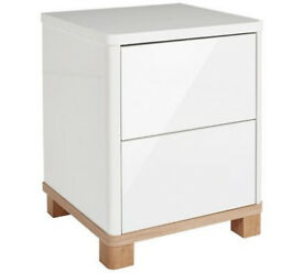 Hygena Finn 2 Drawer Bedside Chest - White Gloss