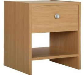HOME Seville 1 Drawer Bedside Chest - Beech Effect