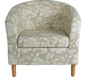 Floral Fabric Tub Chair - Natural