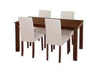 Fully assembled Ashdon Solid Wood Table & 4 Mid Back Chairs - Cream