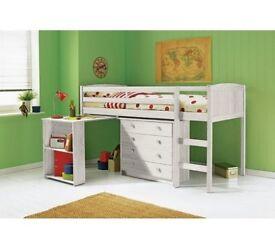 Kelsey Mid Sleeper Bed Frame with Desk - White