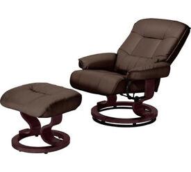 Santos Recliner Chair and Footstool - Dark Brown