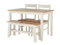 Home Chicago Solid Wood Table, Bench & 2 Chairs