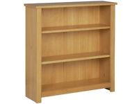HOME Porto 2 Shelf Solid Wood Bookcase - Oak Effect