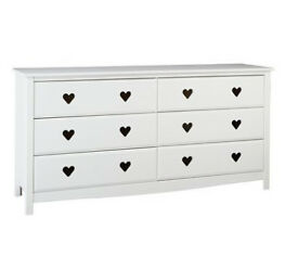 Mia 3+3 Drawer Chest - White