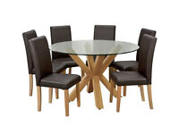 Home Alden Glass Round Table & 6 Chairs -Chocolate