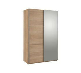 Hygena Bergen 2 Door Small Sliding Wardrobe - Oak & Mirror