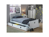 Collection Stars Single Bed with Drawer - White