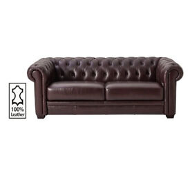 Heart of House Chesterfield 3 Seater Leather Sofa - Walnut