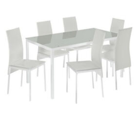 Hygena Lido Glass Dining Table & 6 Chairs - White
