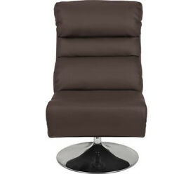 Costa Leather Eff Swivel Chair & Footstool - Dark Brown