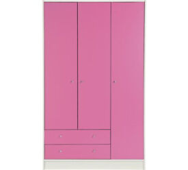 Kids New Malibu 3 Door 2 Drawer Wardrobe - Pink & White