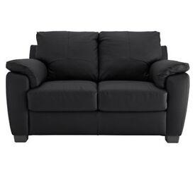 Antonio Compact 2 Seat Leather Leather Eff Sofa - Black