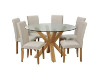 Home Alden Glass Round Table and 6 Chairs - Cream