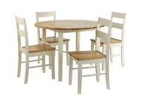 Fully assembled Chicago Round Solid Wood Dining Table & 4 Chairs