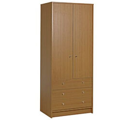 HOME Malibu 2 Door 3 Drawer Wardrobe - Oak Effect