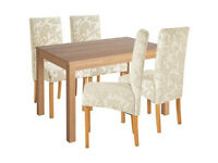 Home Clifton Oak Veneer Table & 4 Chairs - Cream Damsk