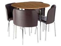 Hygena Amparo Oak Effect Dining Table & 4 Chairs - Chocolate