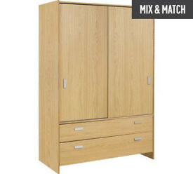 New Capella 2 Door 2 Drw Sliding Wardrobe - Oak Effect