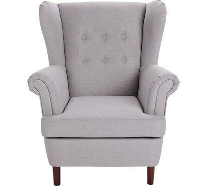 Martha Fabric Wingback Chair - Light Grey