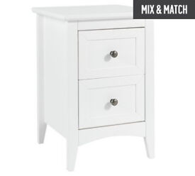 Camborne 2 Drawer Bedside Chest - White