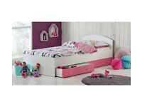 HOME Malibu Single Bed Frame - Pink and White