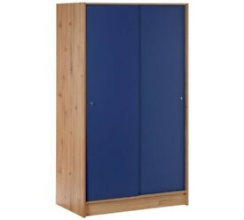 Kids New Malibu Sliding Wardrobe - Pine & Blue