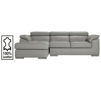 Hygena Valencia Leather Left Hand Corner Sofa Light Grey In