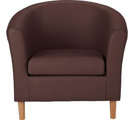 Leather Effect Tub Chair - Brown