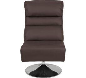 Costa Leather Eff Swivel Chair & Footstool - Dark Brown