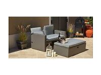 Rattan Effect Recliner Sofa