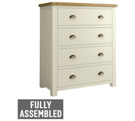 Heart of House Kent 4 Drawer Wide Chest - Cream & Oak