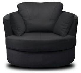 Milano Leather Swivel Chair - Black