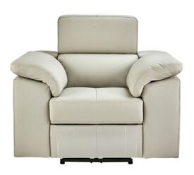 Hygena Valencia Leather Power Recliner Chair - Light Grey